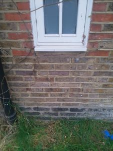 Subsidence affected external wall
